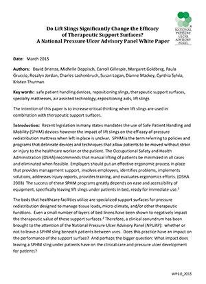 Papier Blanc sur les élingues d'assistance NPUAP-Mars 2015