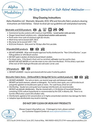 2018 Sling Cleaning Instructions