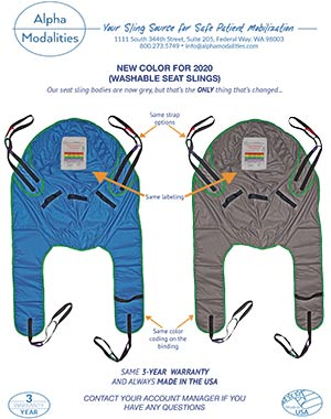 Washable Seat Slings have a new color for 2020